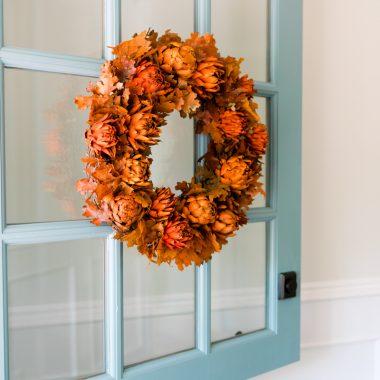 Fall Wreath on Blue Dutch Door
