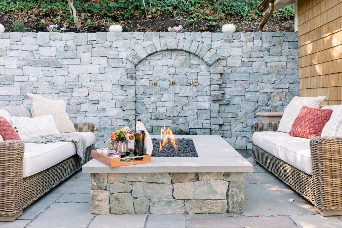 Patio Fire Pit and Sofas