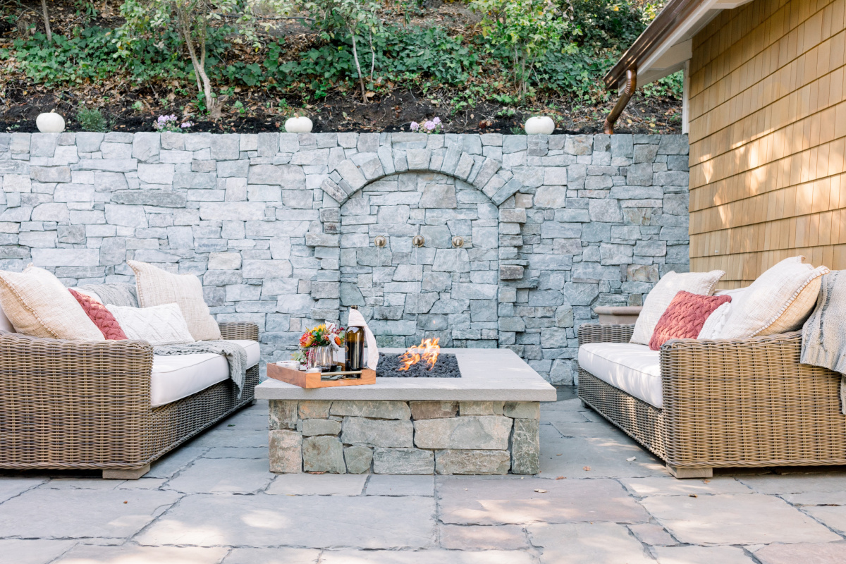 Stone Patio, Fire pit and Water feature