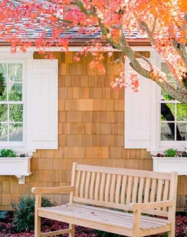 Teak Bench and Window Boxes