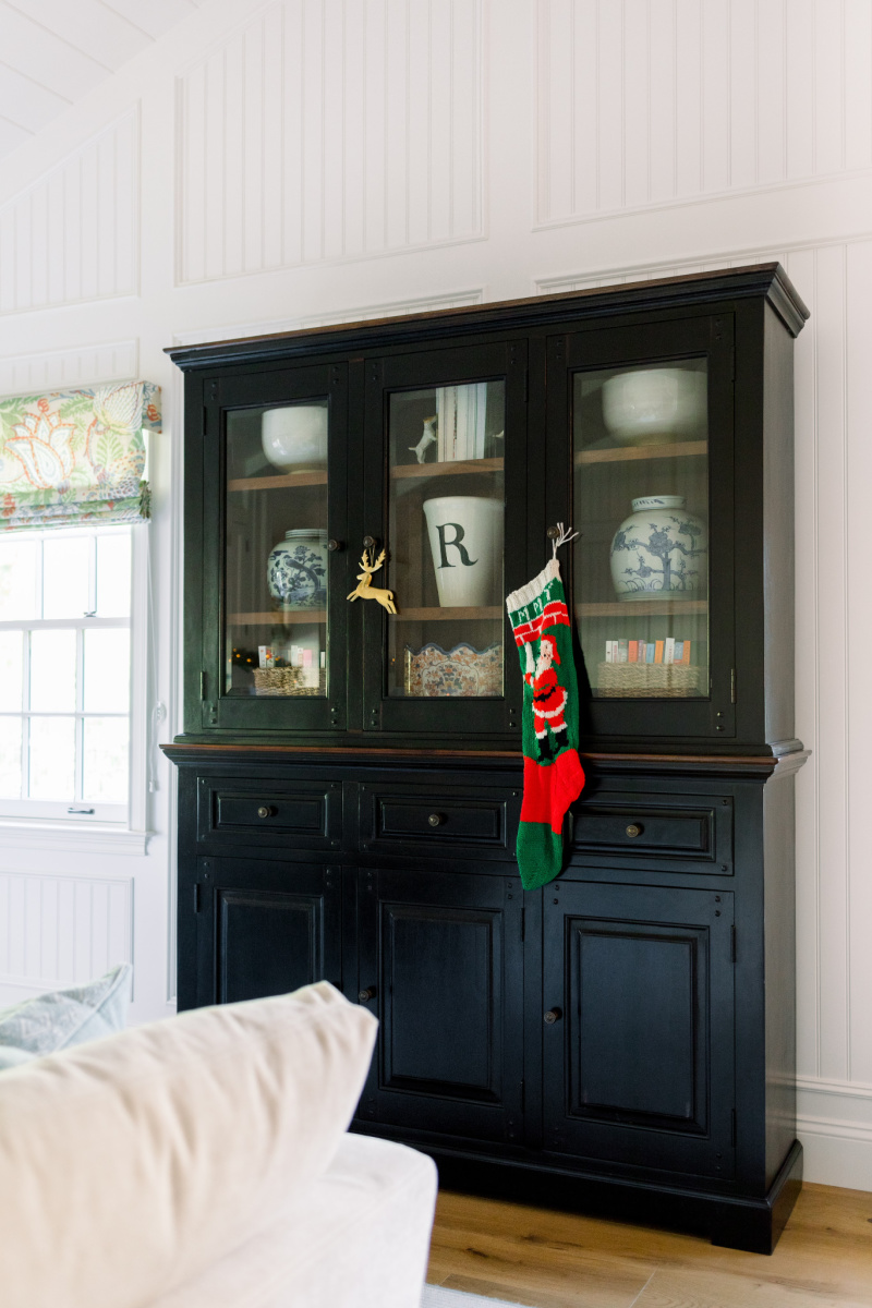 Black Hutch with Christmas Stocking