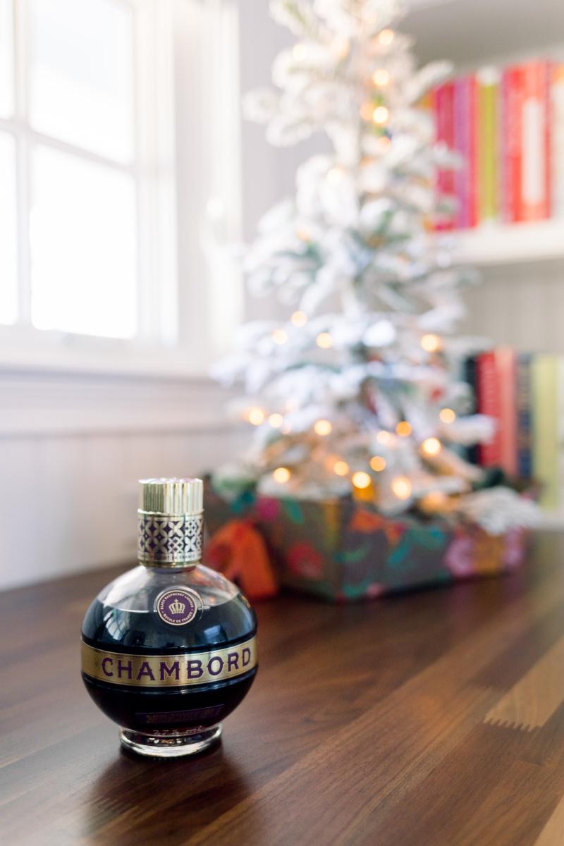 Chambord bottle and Christmas tree