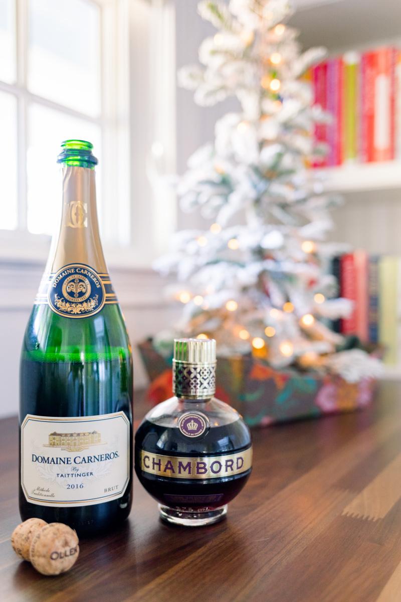 Sparkling Wine and. Kir Royale and Christmas Tree