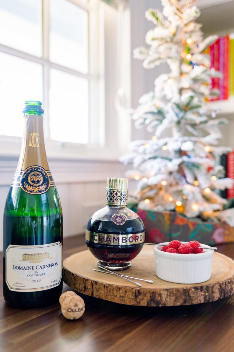 Sparkling wine, Chambord, Raspberries, Christmas tree