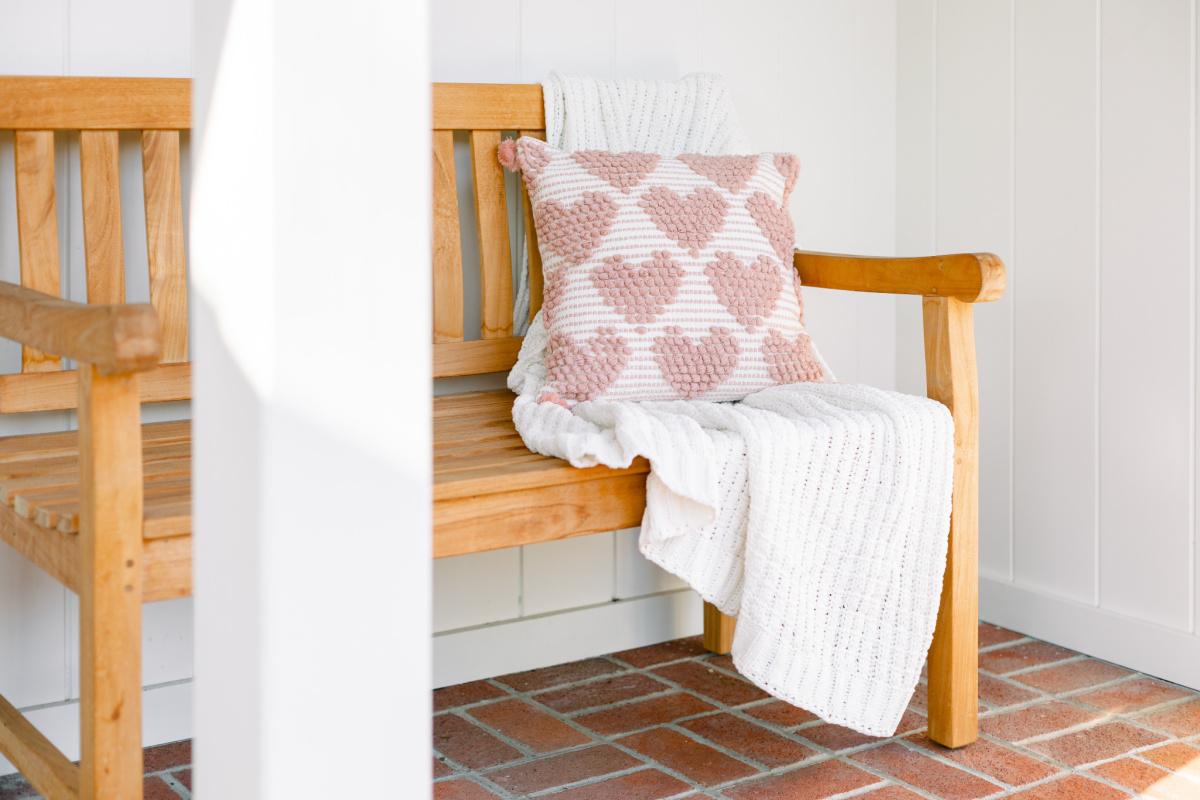 Teak Bench and Heart Pillow
