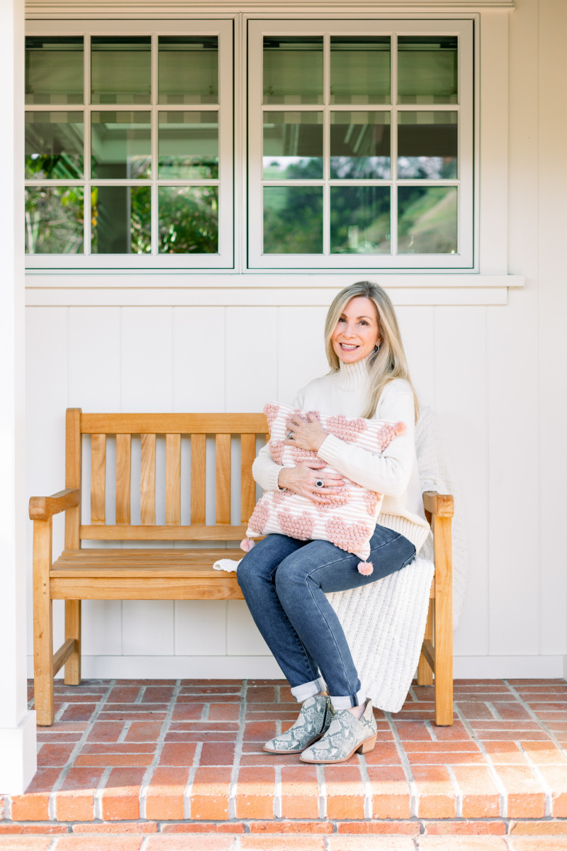 Front Porch Bench and Heart Pillow