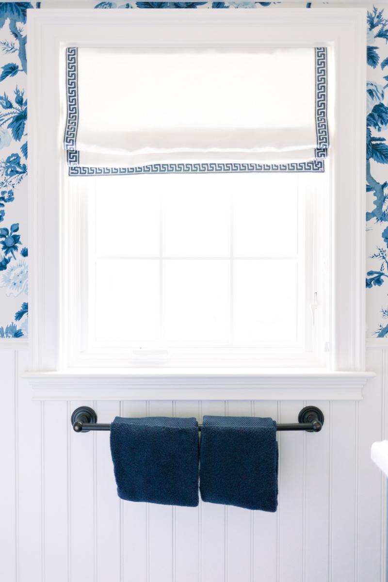 Blue and White Bathroom Roman Shade