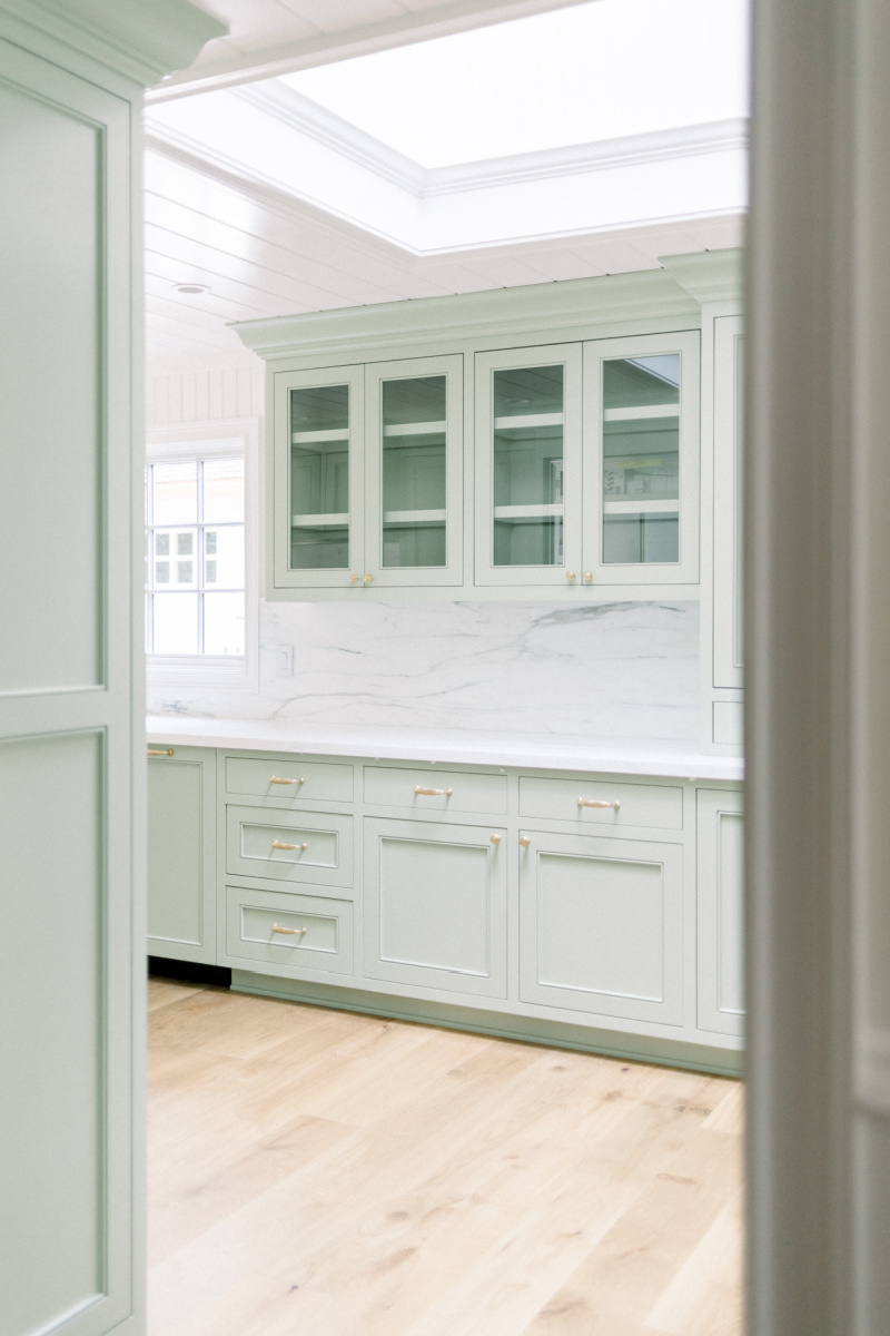 Sage Kitchen Cabinets and Glass Front Cabinets