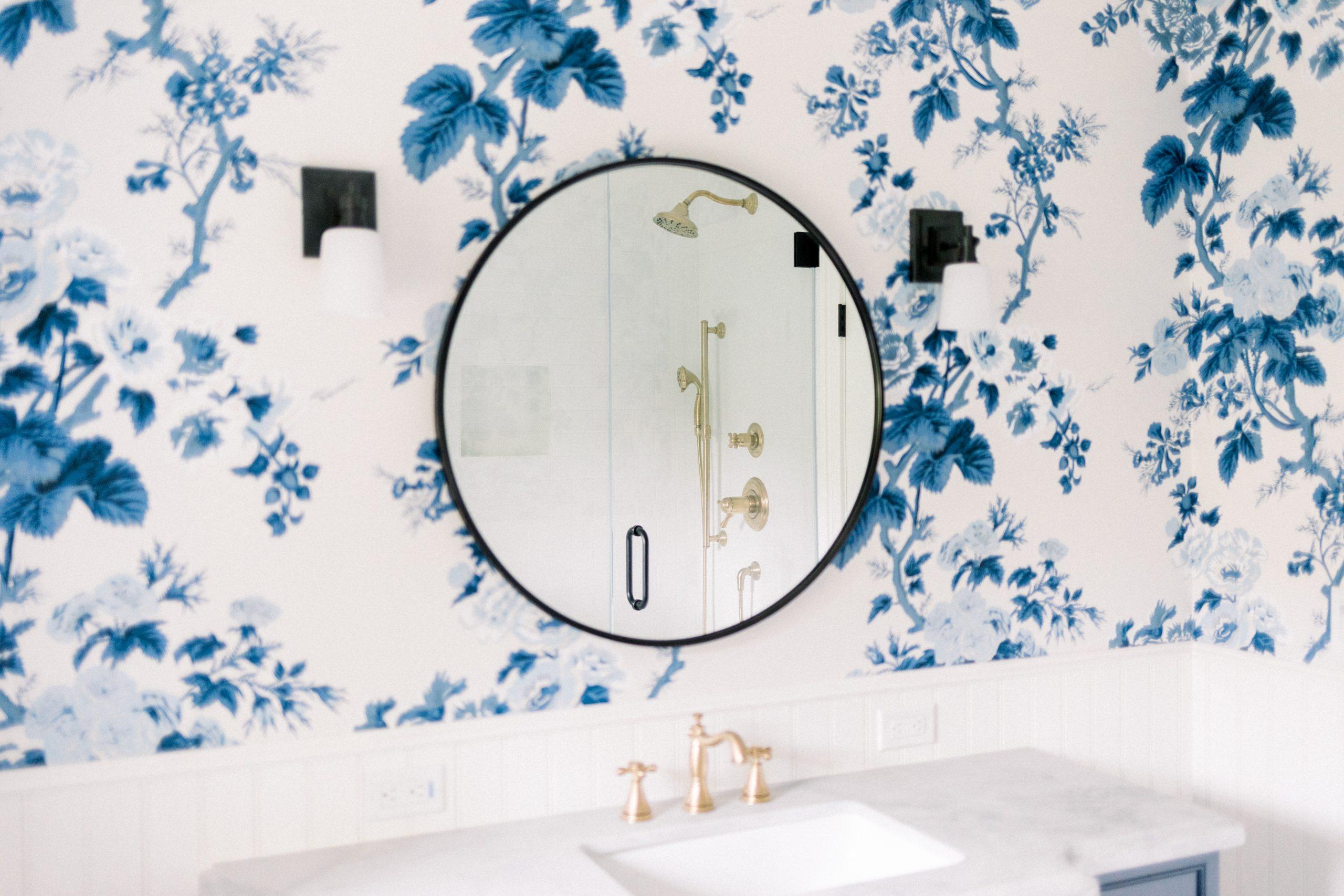 Round Vanity Mirror and Sconces
