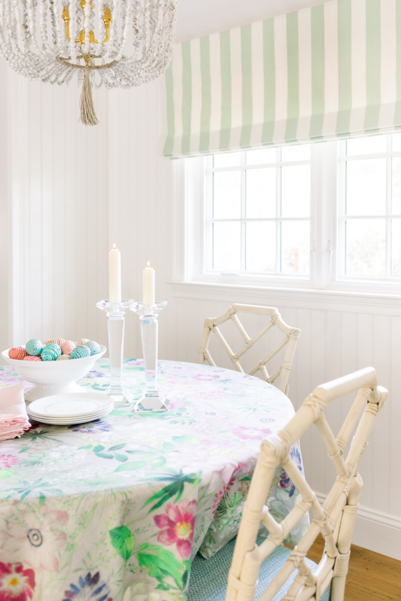 Easter Table Setting with Easter eggs and candle sticks