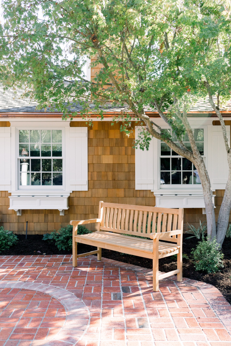 Window Shutters and Flower Boxes, Teak Bench