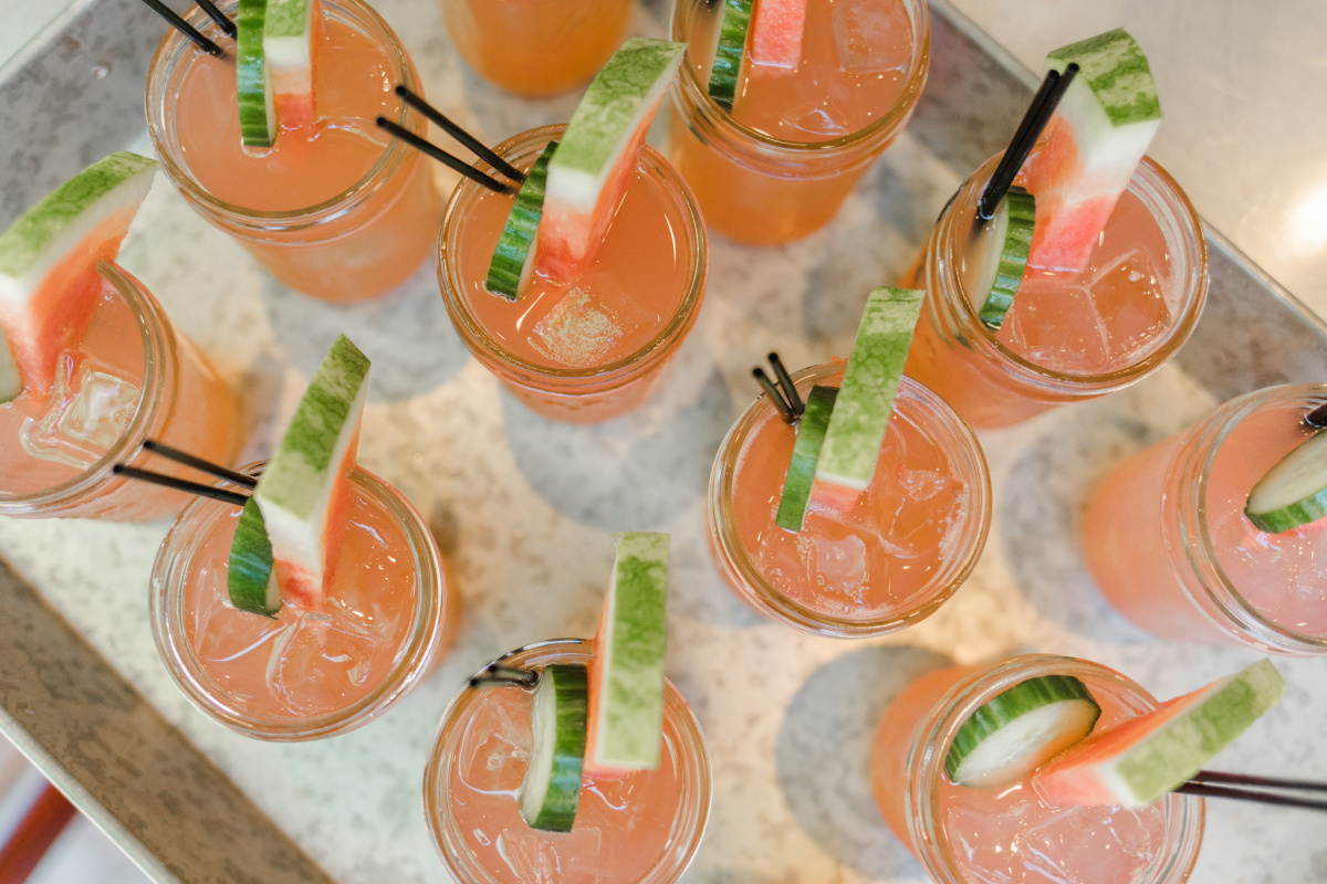 Cucumber Watermelon Cocktail in Mini Mason Jar