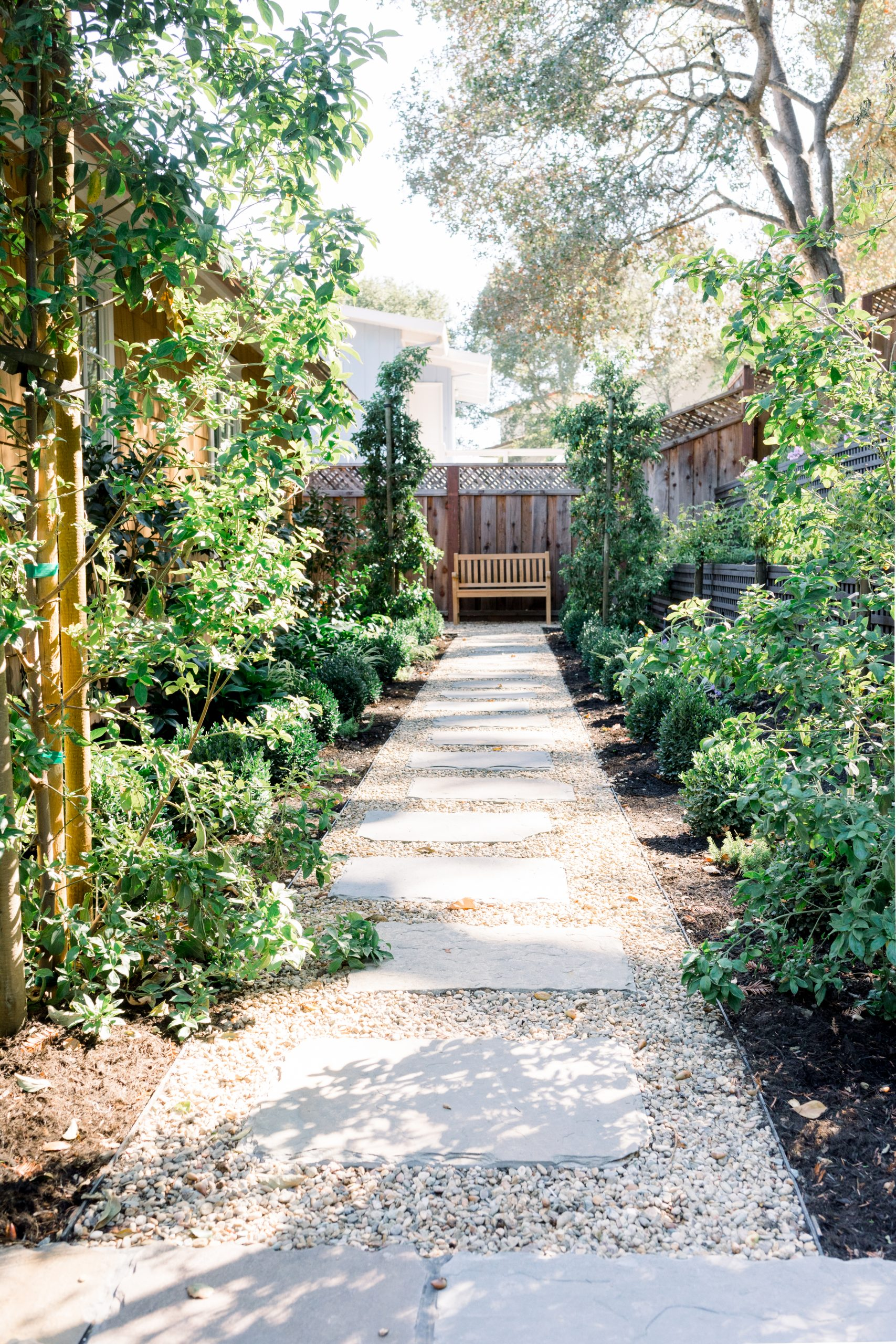 Garden borders and gravel path