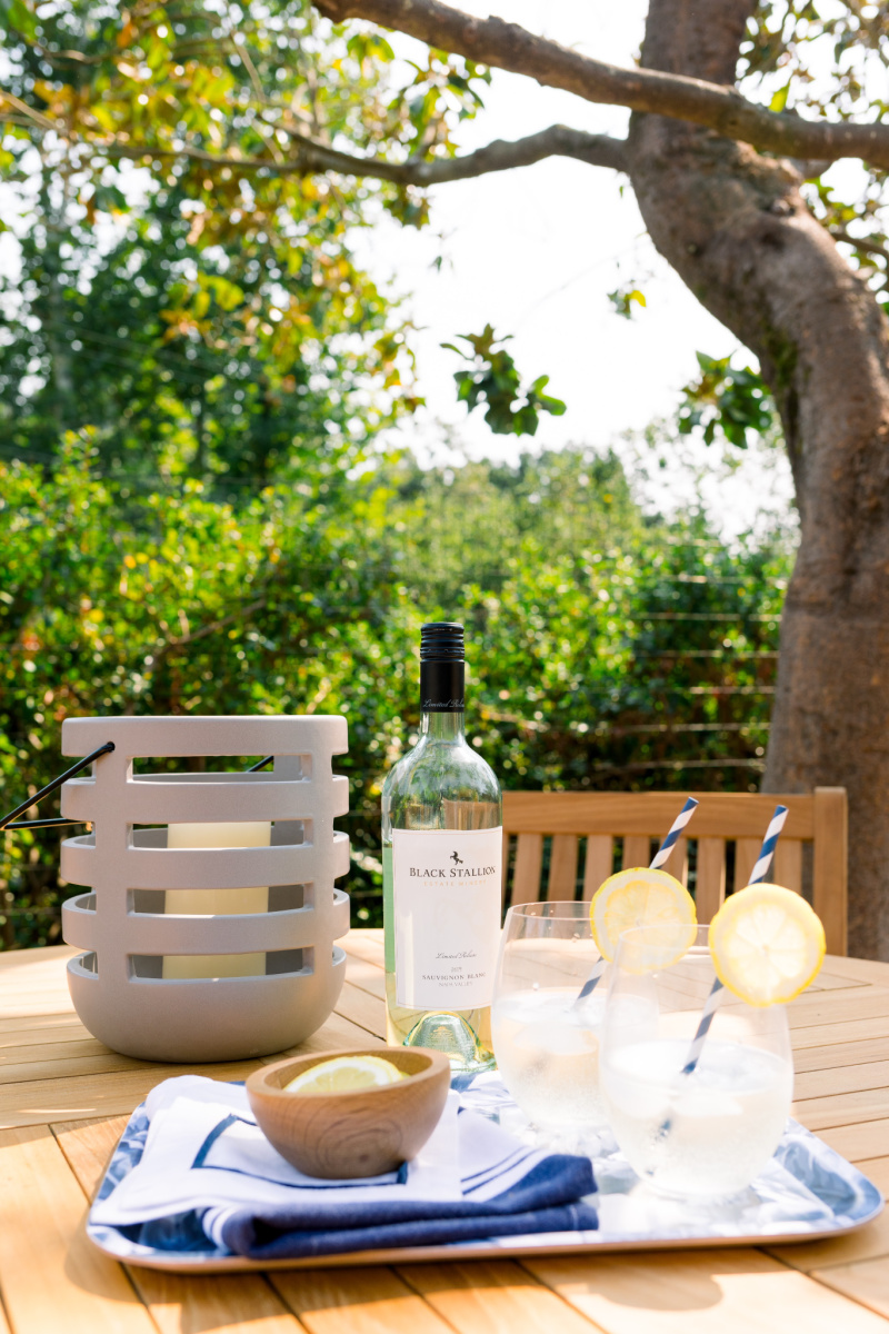 White Wine Spritzers Outdoors on Blue and White Floral Tray