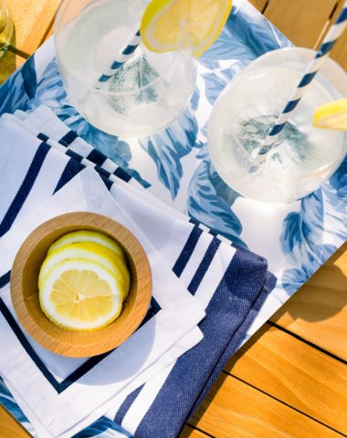 White Wine Spritzer on Blue and White Tray