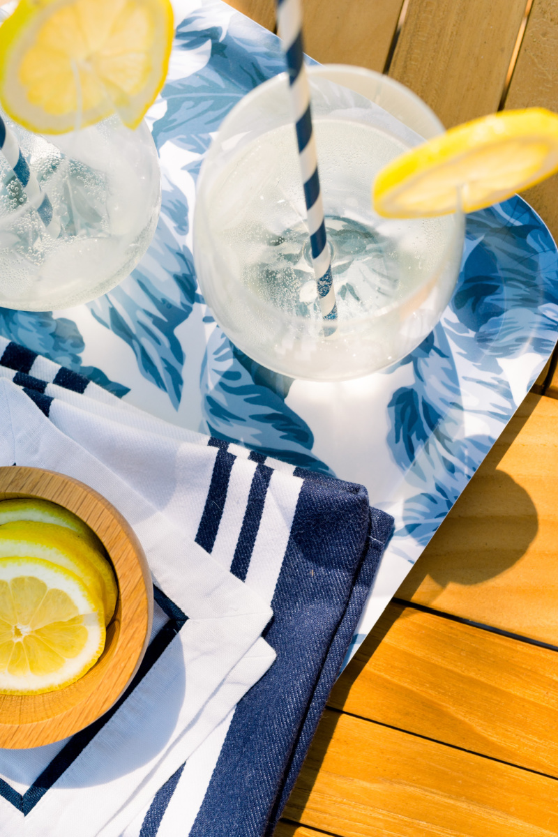 White Wine Spritzer on Blue and White Floral Tray