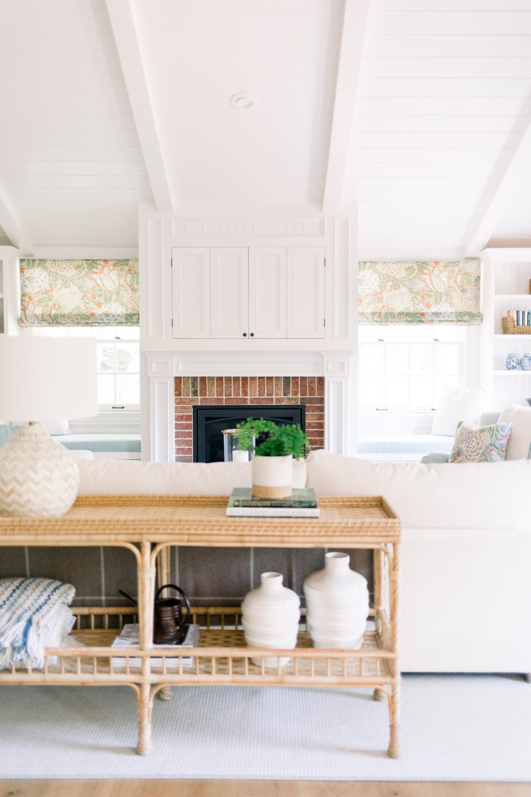 Family room console table and fire place