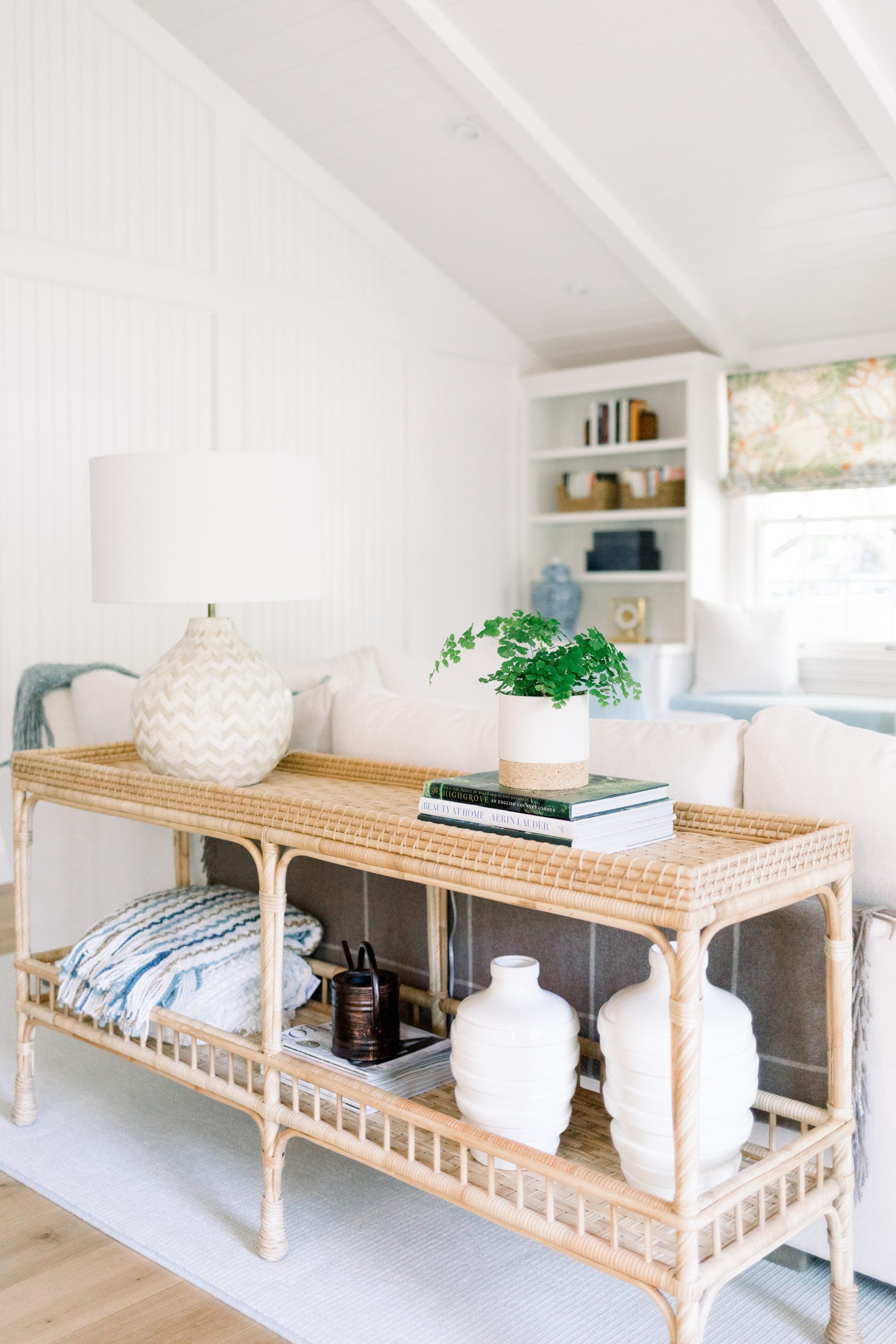 Family room console table and built in shelves