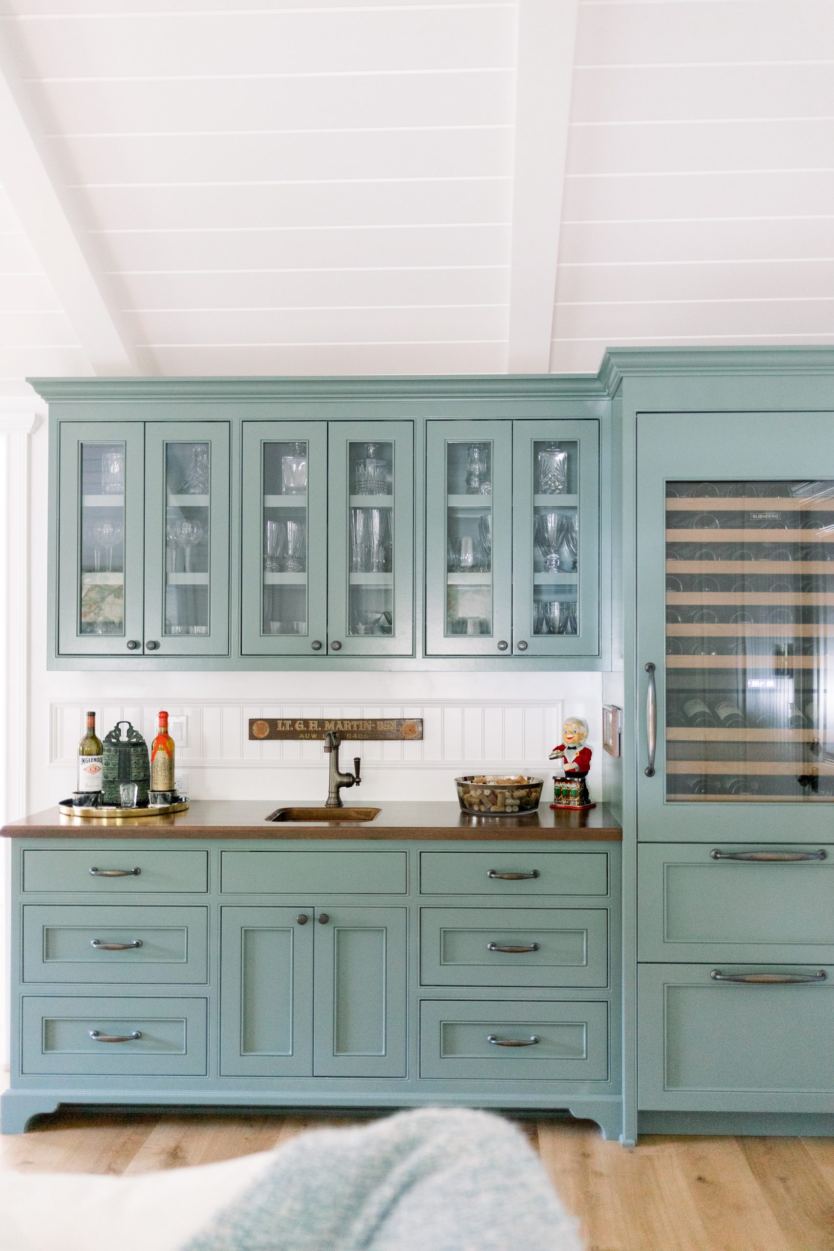 Beverage Bar with green cabinetry