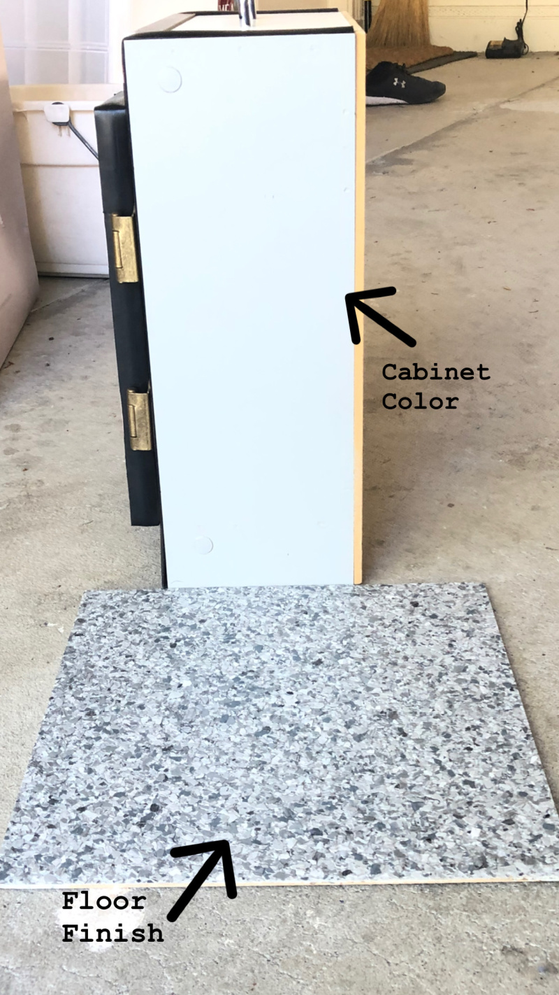 Garage cabinet and floor sample