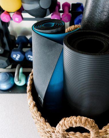 Yoga Mats in Basket