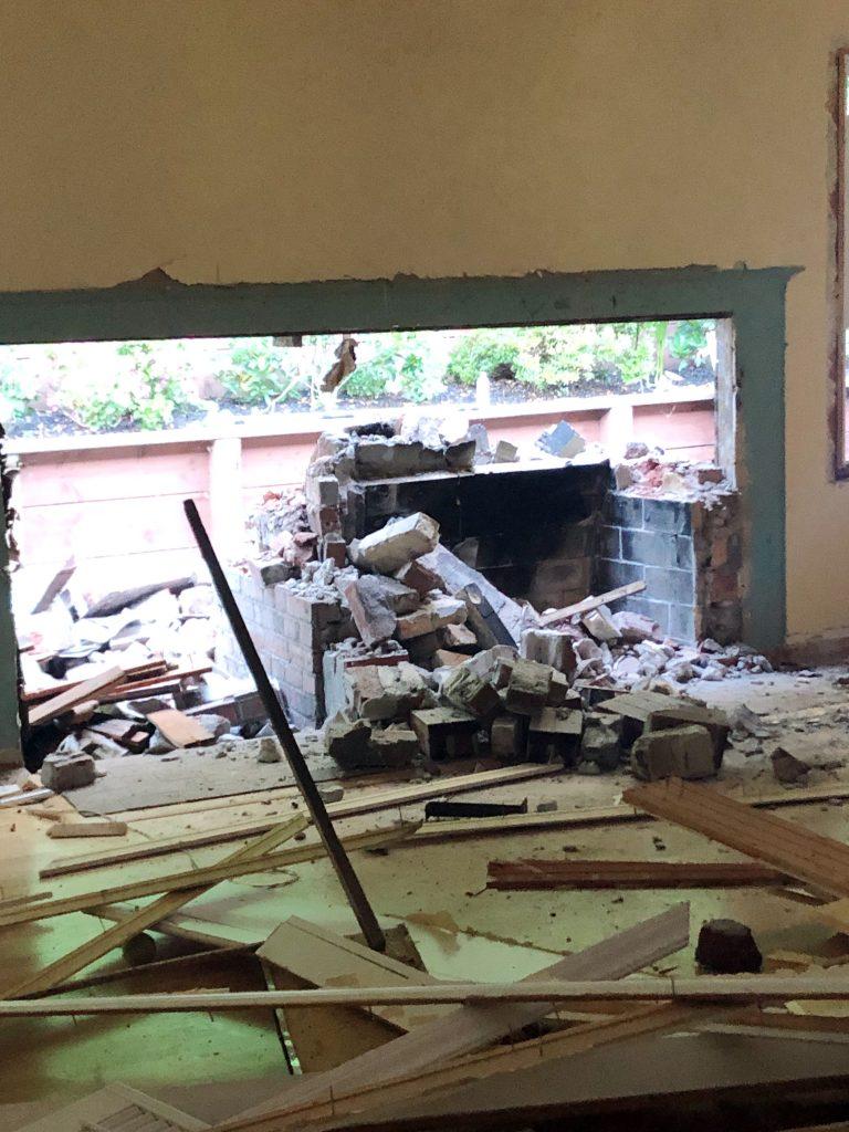 Demolished living room