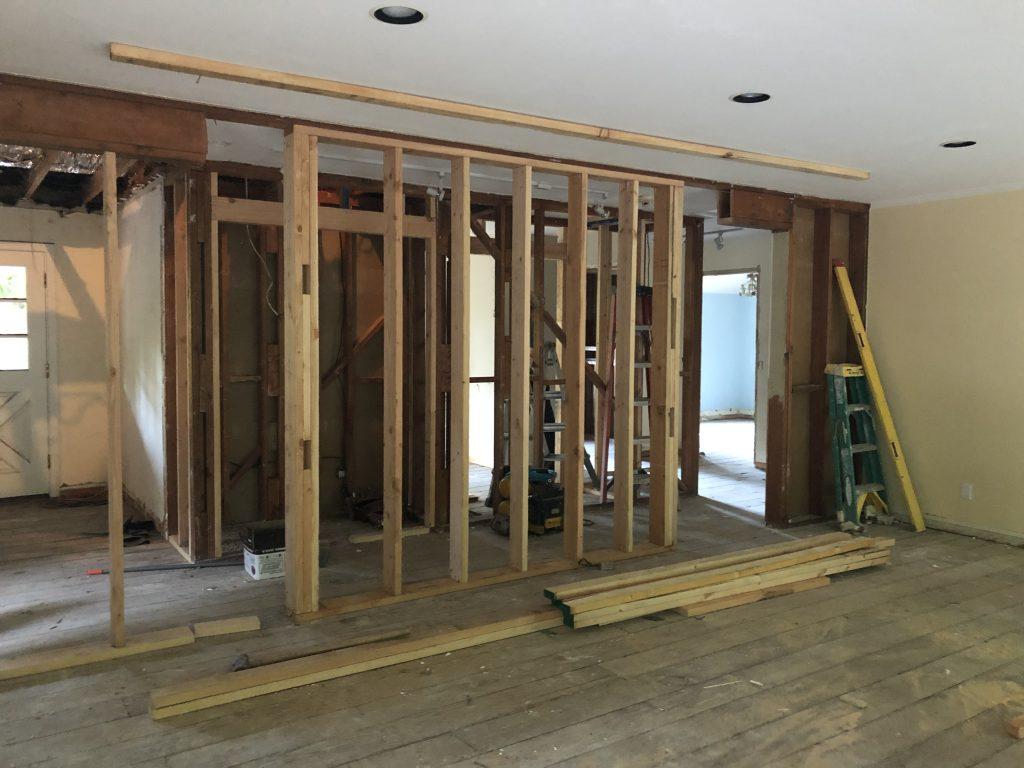 Living room being framed