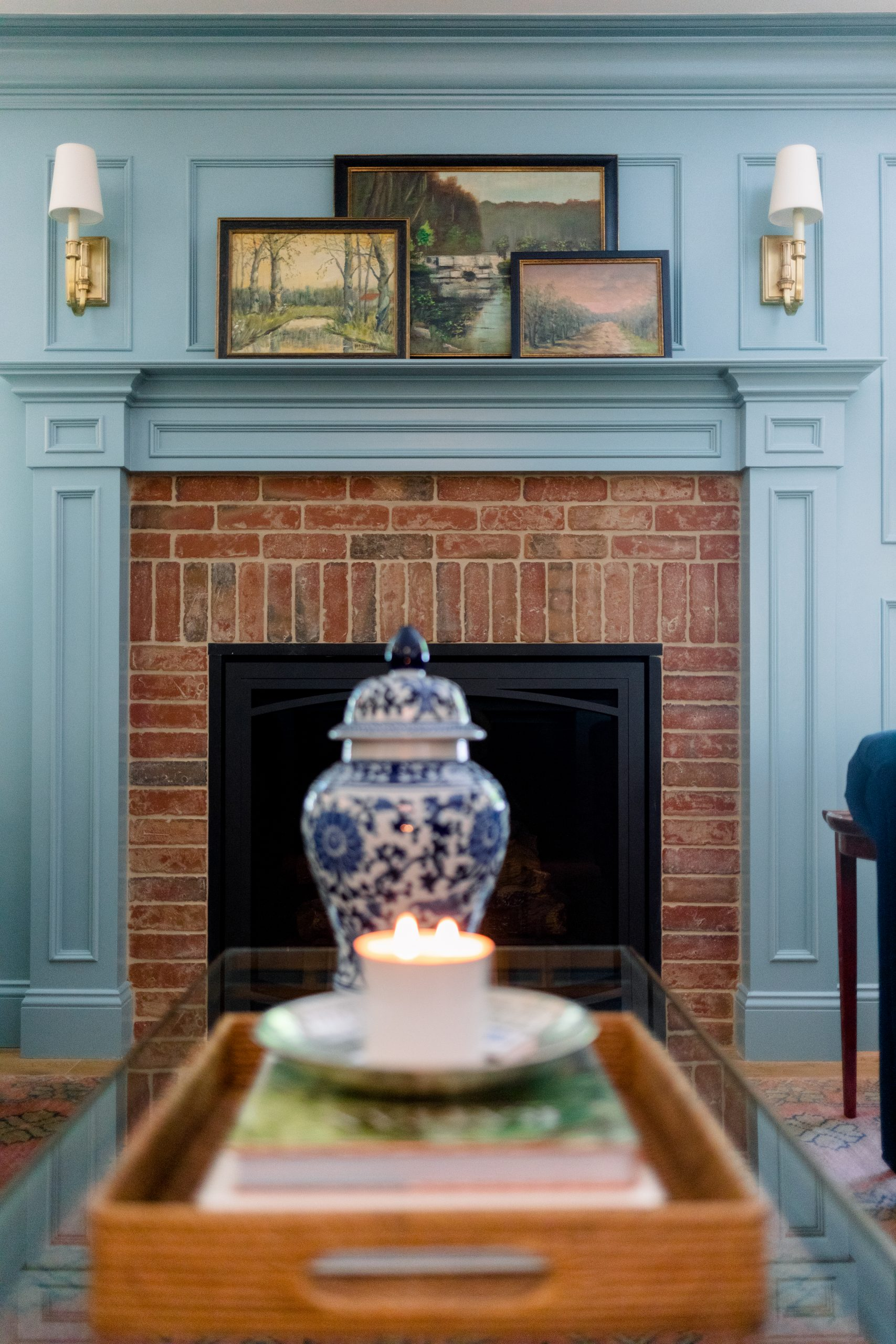Home Library fireplace and coffee table