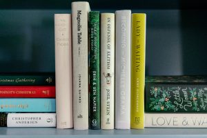 Books between duck bookends on shelf