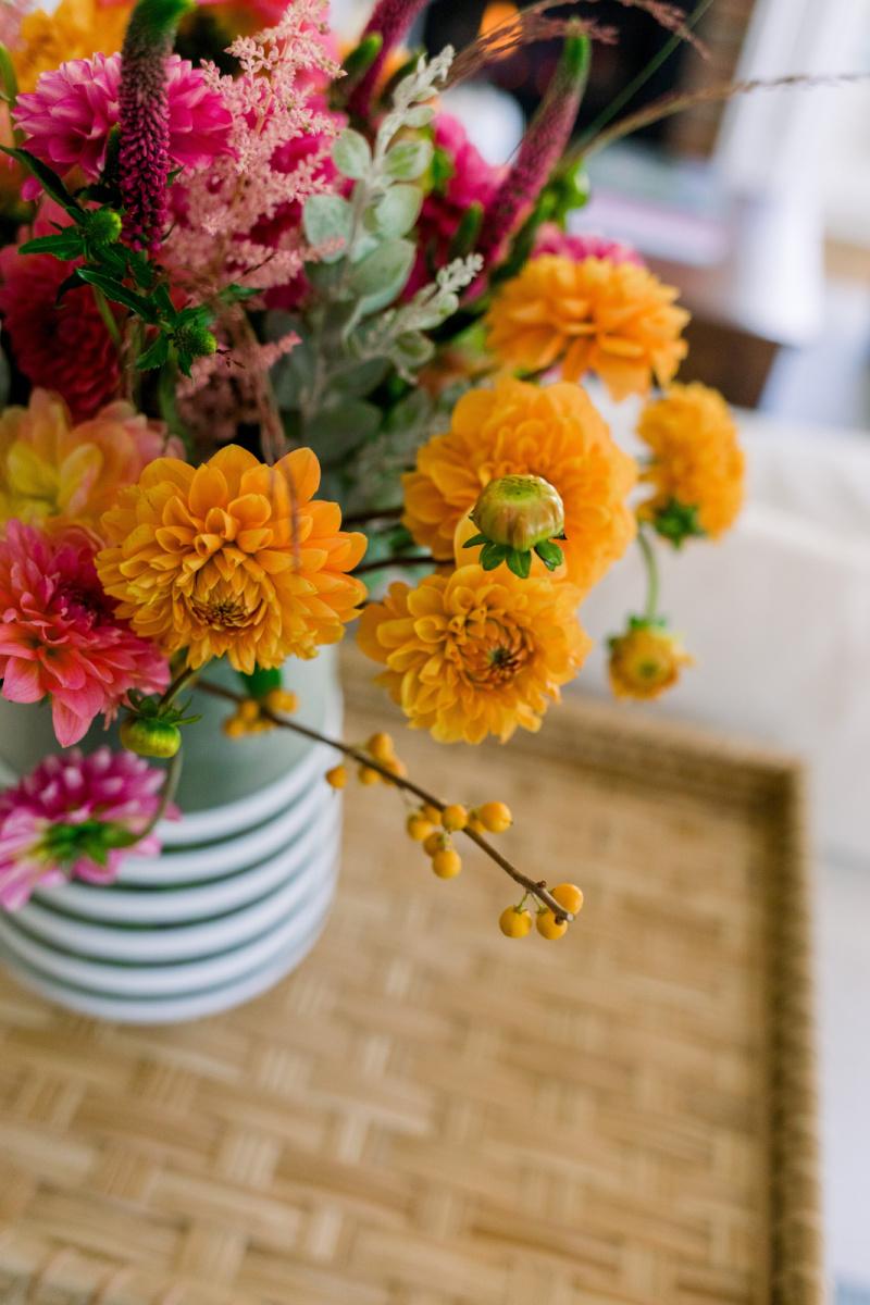 Floral arrangement on rattan table
